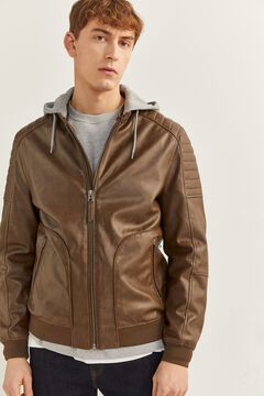 Springfield FAUX LEATHER JACKET WITH HOOD brown