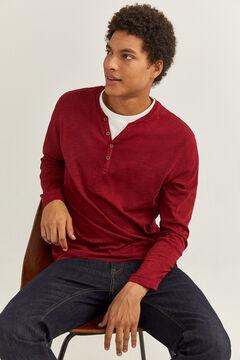 Springfield Henley long sleeve t-shirt deep red