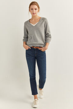 Springfield Lace Trim Neckline Jumper gray