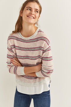 Springfield Two-Material Striped Jumper strawberry