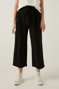 Springfield Tie waist belt culottes  black