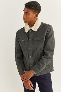 Springfield COTTON JACKET WITH SHEEPSKIN grey