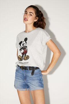 Springfield Organic cotton Mickey sequins T-shirt grey