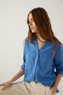 Springfield Organic cotton linen mandarin collar blouse. blue