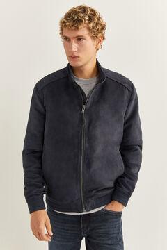 Springfield Faux suede biker jacket blue
