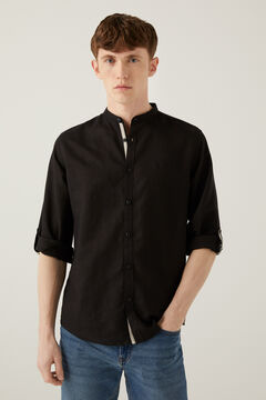 Springfield Linen mandarin shirt navy