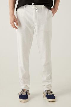 Springfield Calças chino linho cordão branco