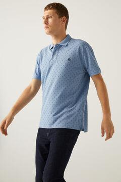 Springfield Native print piqué polo shirt navy mix