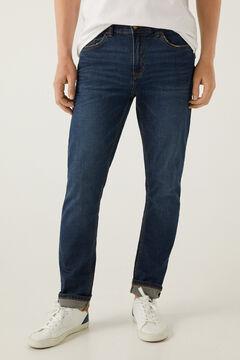 Springfield Dark wash slim fit lightweight jeans blue