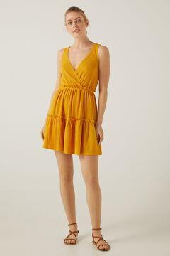 Springfield Short dress with flounced skirt golden
