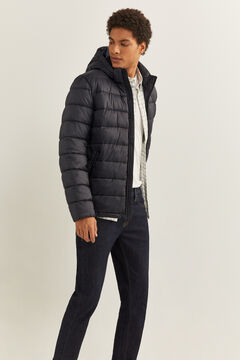 Springfield QUILTED JACKET WITH DUPONT™ SORONA® PADDING AND REMOVABLE HOOD navy