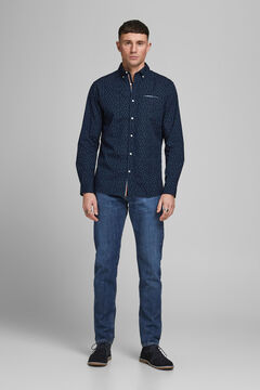 Springfield Printed cotton shirt navy
