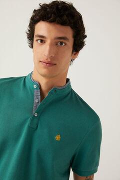 Springfield Slim fit mandarin comfort polo shirt green