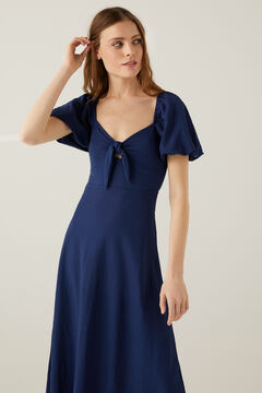 Springfield Knot neckline midi dress blue