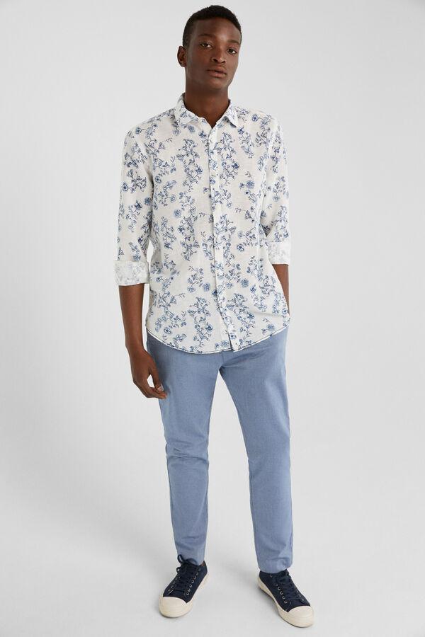 783fb73c04157 Springfield Camisa lino estampado blanco