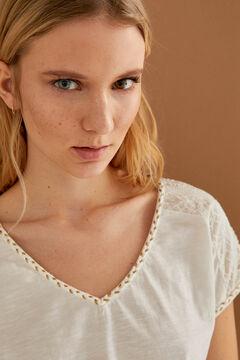 Springfield Swiss embroidery shoulders T-shirt ecru