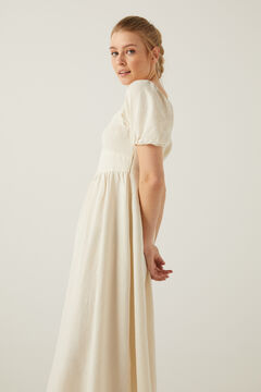 Springfield Sustainable linen midi dress ecru