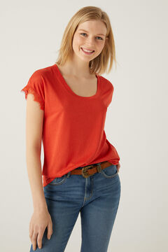 Springfield Lace sleeves T-shirt red
