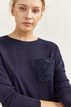 Springfield Camiseta Bolsillo Crochet azul