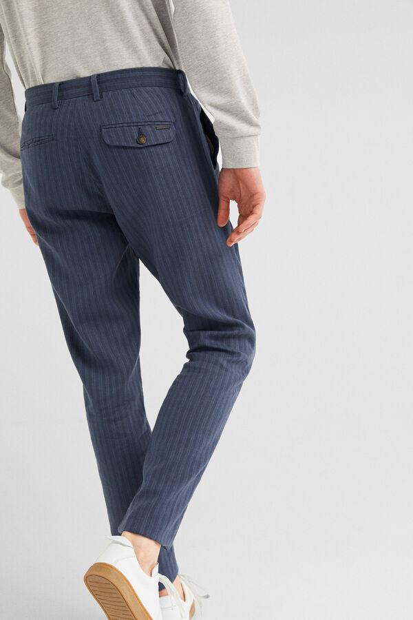 c7c12c32209 Springfield Pantalón chino lino rayas azul