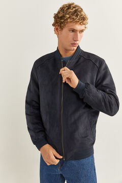 Springfield Faux suede bomber jacket blue