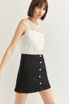 Springfield Denim skirt with buttons black