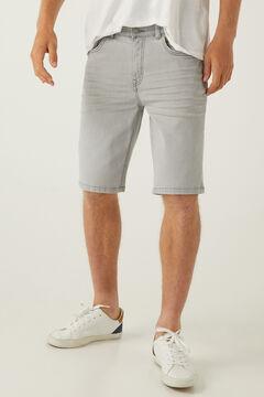 Springfield Washed grey lightweight denim Bermuda shorts grey