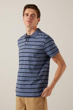 Springfield Striped polo shirt steel blue