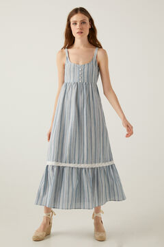 Springfield Long multistripe lace borders dress blue