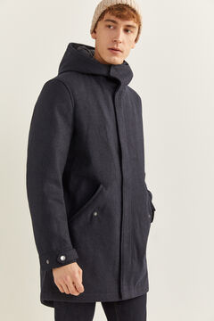 Springfield SHORT WOOL BLEND PARKA WITH RECYCLED DUPONT™ SORONA® padding bluish