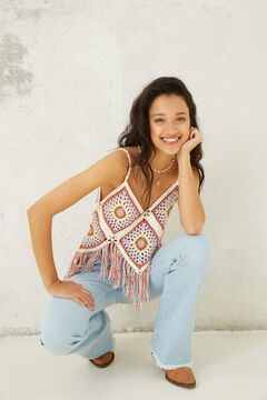 Springfield Fringed crochet top grey