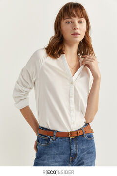 Springfield BLOUSE WITH MANDARIN COLLAR white