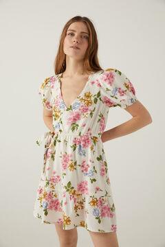 Springfield Kleid mit Print nachhaltiges Leinen ecru
