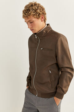 Springfield FAUX LEATHER BIKER JACKET brown