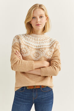 Springfield Jacquard Borders Fur Jumper tan