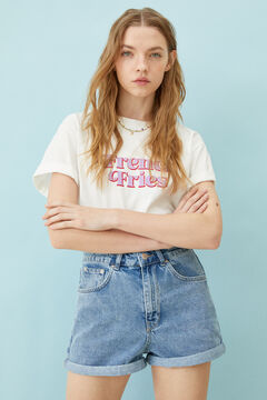 Springfield High rise denim shorts blue