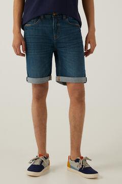 Springfield Green dark wash denim Bermuda shorts mallow