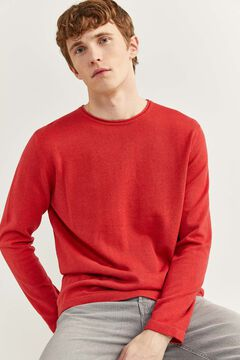 Springfield Melange cotton jumper with elbow pads deep red