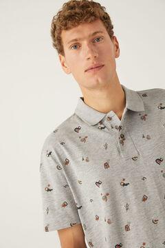 Springfield All-over print cotton polo shirt gray