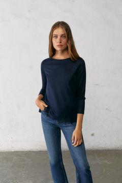 Springfield T-shirt ourlet crochet bleu indigo