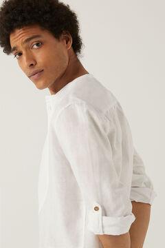 Springfield Hemd Leinen Stehkragen Brustlatz weiß