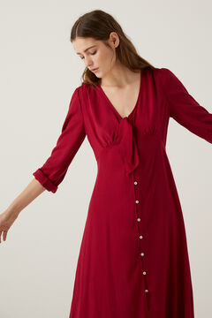Springfield Knot neckline long dress red