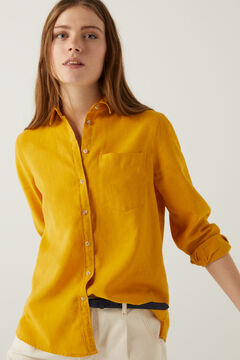 Springfield Organic cotton linen blouse yellow