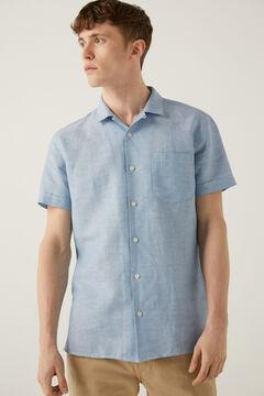 Springfield Short-sleeved linen bowling shirt indigo blue