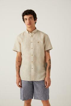 Springfield Camisa manga corta lino camel claro