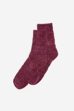 Springfield Ribbed Chenille Socks deep red