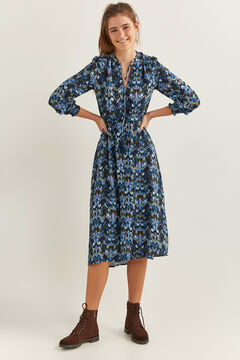 Springfield Ethnic Print Midi Dress indigo blue