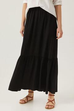 Springfield Long flounced hem skirt black