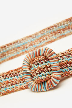 Springfield Multicoloured raffia belt brown