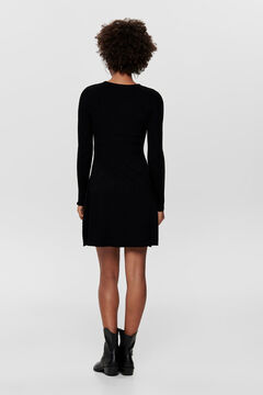 Springfield Long-sleeved round neck jersey-knit dress noir